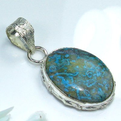 Chrysocolla silver 925 pendant + sterling necklace ! Gift Jewelry & Love