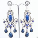 Fashion Silver Plated Blue Stone Floral Dangle Earrings ! Gift Jewelry & Love