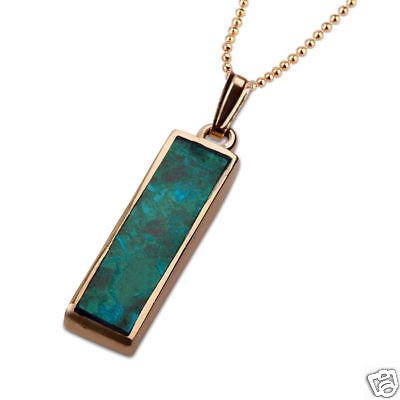 Vintage Eilat stone Israel pendant 14k gold + necklace ! high quality jewelry