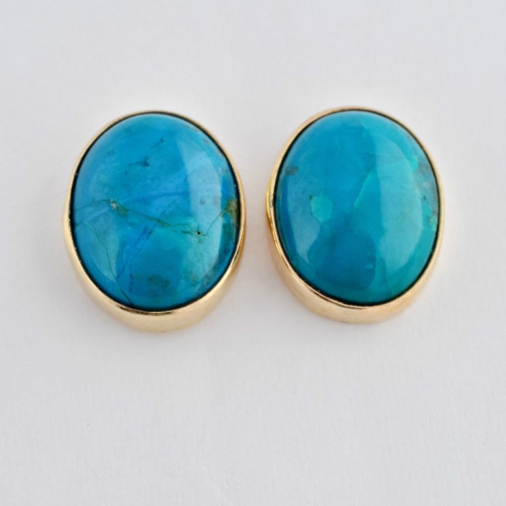 14k gold fashion earrings set with Eilat stone Israel ! high quality jewelry