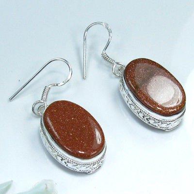 Fine fashion silver 925 & natural Sun sitara earrings ! Gift Jewelry & Love