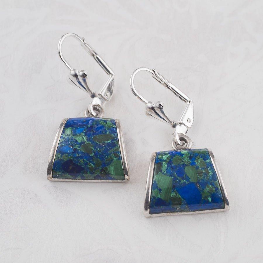 Fine sterling silver 925 earrings set Eilat stone Israel ! king solomon gemstone