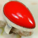 Fashion retro design silver set red coral ring size 6.5 ! Gift Jewelry & Love