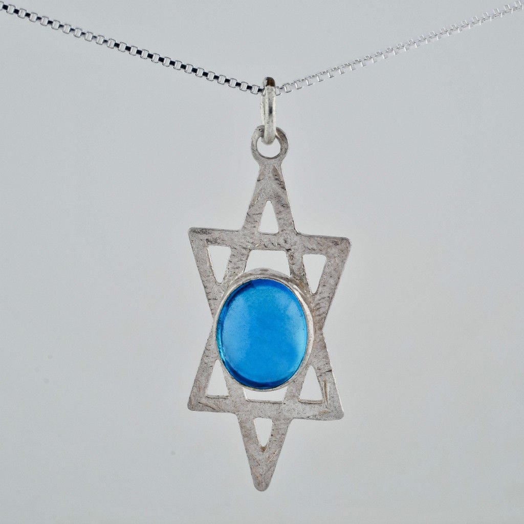 Silver 925 necklace & pendant of a king David star with pale blue crystal