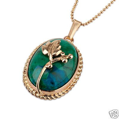 High quality Eilat stone pendant 14k gold + necklace ! high quality jewelry