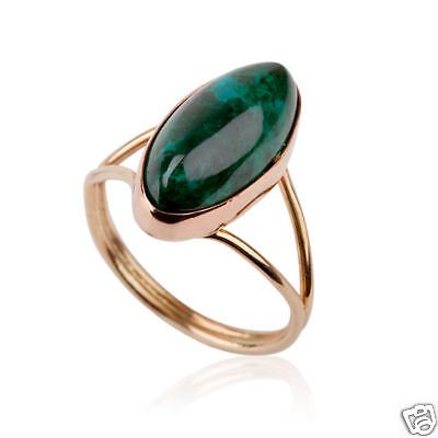 Vintage Fine Natural Eilat stone Israel ring 14k gold ! high quality jewelry