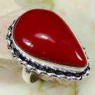 Fashion retro silver set red coral gemstone ring size 7 ! Gift Jewelry & Love