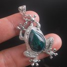 Silver 925 necklace & natural chrysocolla gemstone frog pendant ! Gift & Jewelry