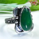 Fine fashion green Agate silver 925 ring size 8 1/2 ! Gift Jewelry & Love