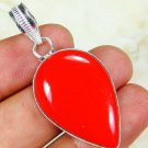 Copper red coral gemstone pendant & silver 925 necklace ! Gift Love & Jewelry
