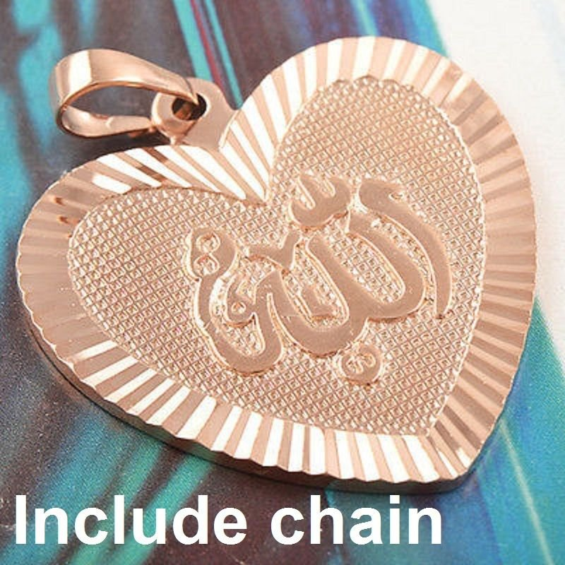 Fashion 9K gold filled allah islam heart pendant & necklace ! Gift & Jewelry