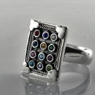 Solid sterling silver 925 hoshen breastplate of Israel High Priest ring size 8