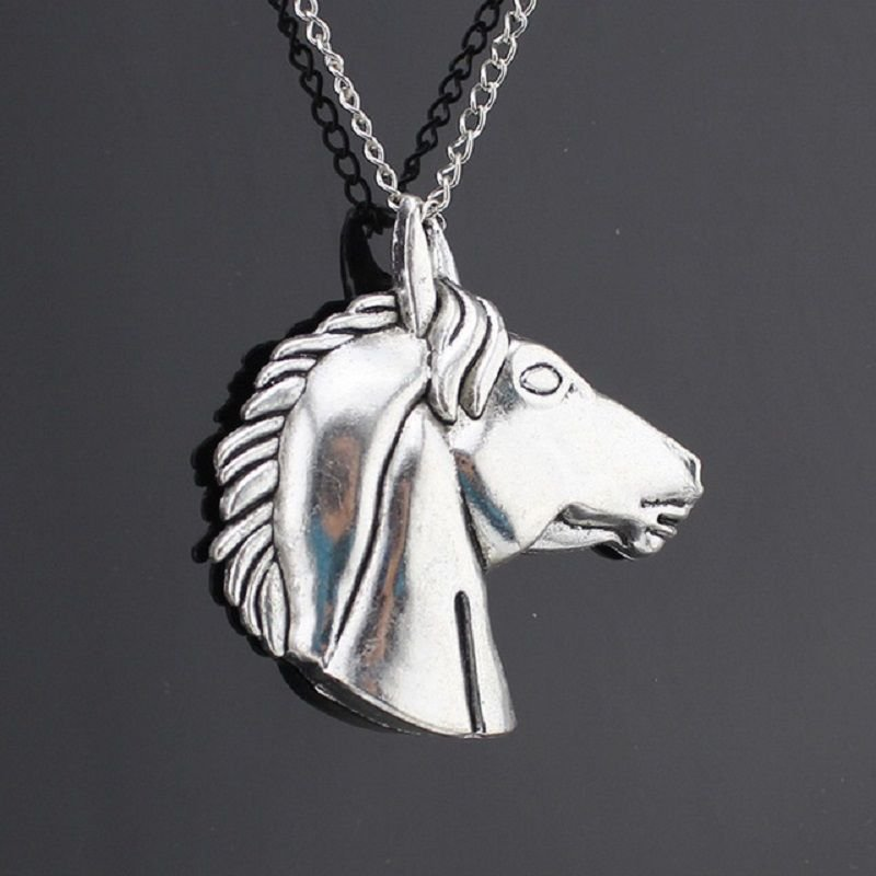 Fashion Silver Plated Horse Head Pendant & Necklace ! Gift Love & Jewelry