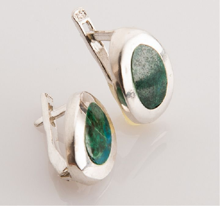 Fashion sterling silver earrings set natural Eilat stone Israel ! Gift & Jewelry