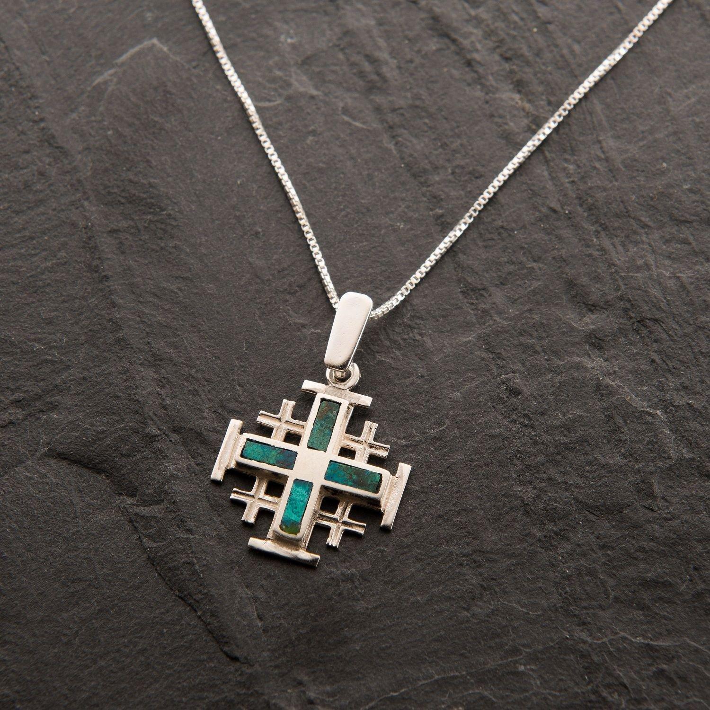 Fashion Sterling silver cross Eilat king Solomon stone Israel pendant & necklace