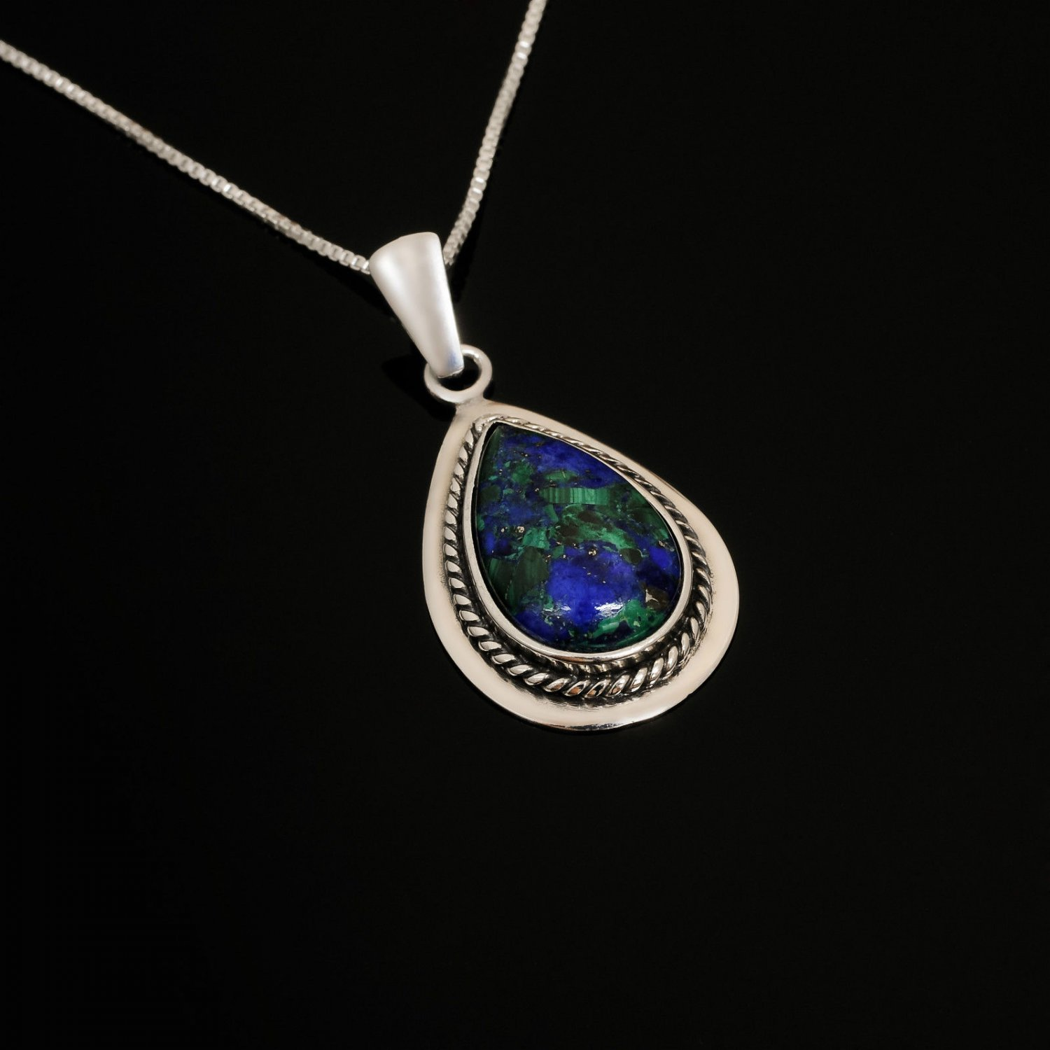 Fashion silver necklace & pendant natural Eilat stone Israel ! Gift & Jewelry