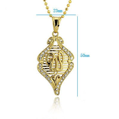 Fashion 24k gold plated zircon allah islam pendant & chain ! Gift Jewelry & Love