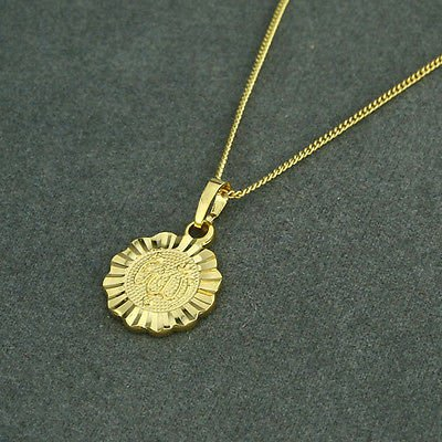 Fashion 18k gold plated flower allah Islam Pendant & necklace ! Gift & Jewelry