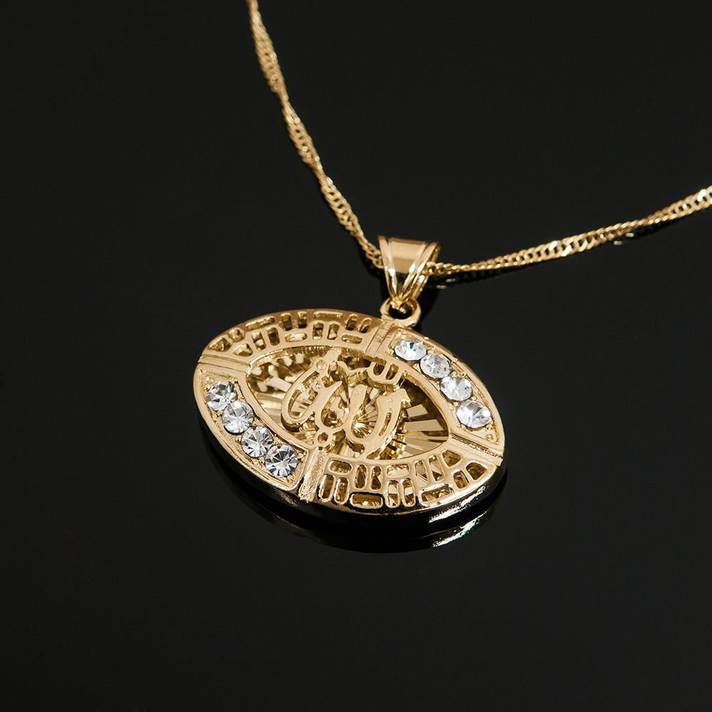 Fashion 18k Gold Plated Allah Islamic Pendant Necklace ! Islam Gift & Jewelry