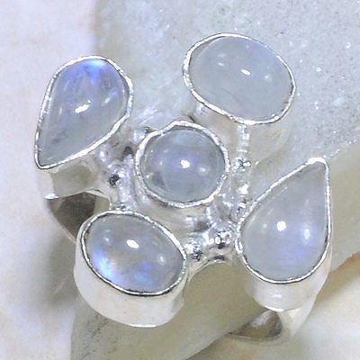 Pretty fashion retro silver 925 & moonstone ring size 8 ! Gift Jewelry & Love