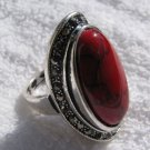 Fashion retro natural red coral Thailand silver ring size 7.5 ! Gift & Jewelry