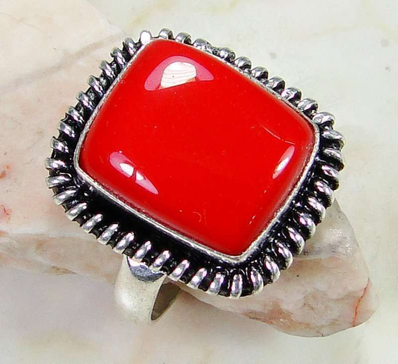 Fashion retro natural red coral gemstone silver ring size 9 ! Gift & Jewelry