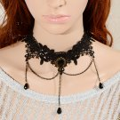 Classic Fashion Gothic Black Beads Lace Flower Cameo Chain ! Pendant & Necklace