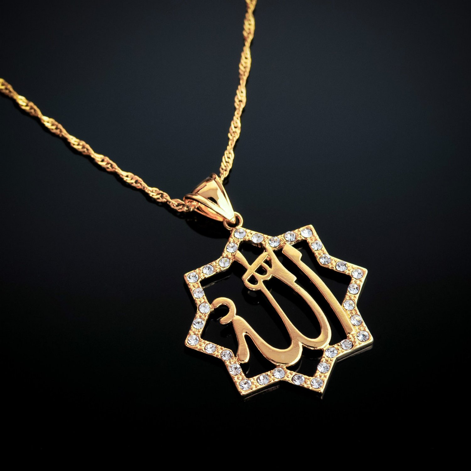 Fashion 18k gold plated Allah Islamic pendant & necklace ! Islam Jewelry & Love