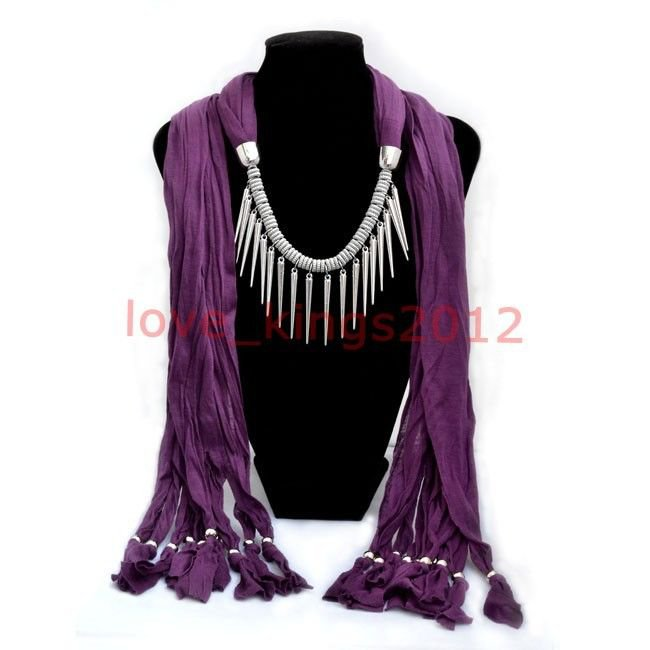 Purple Alloy Scarves Necklace Pashmina Soft Scarf ! Gift Jewelry & Accessories