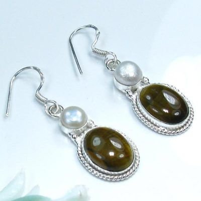 Fine silver 925 & Tiger eye & white pearl earrings ! Gift Jewelry and Love   See original listing