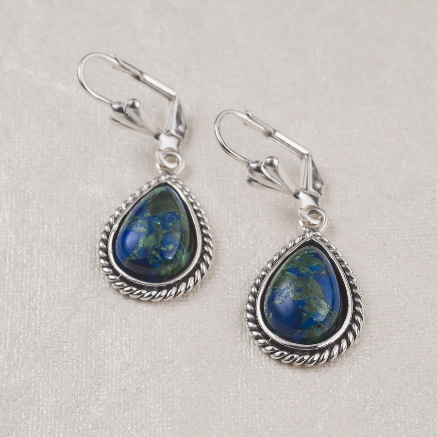 Sterling silver 925 earrings set natural Eilat stone ! vintage fashion jewelry