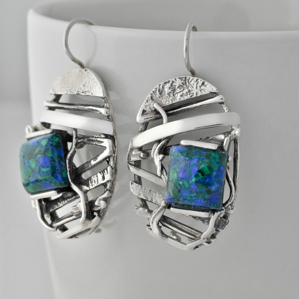Silver stamp 925 earrings set natural Eilat king solomon stone ! vintage jewelry