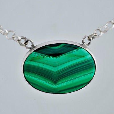 Silver 925 pendant set Malachite gemstone & necklace ! Gift Jewelry & Love