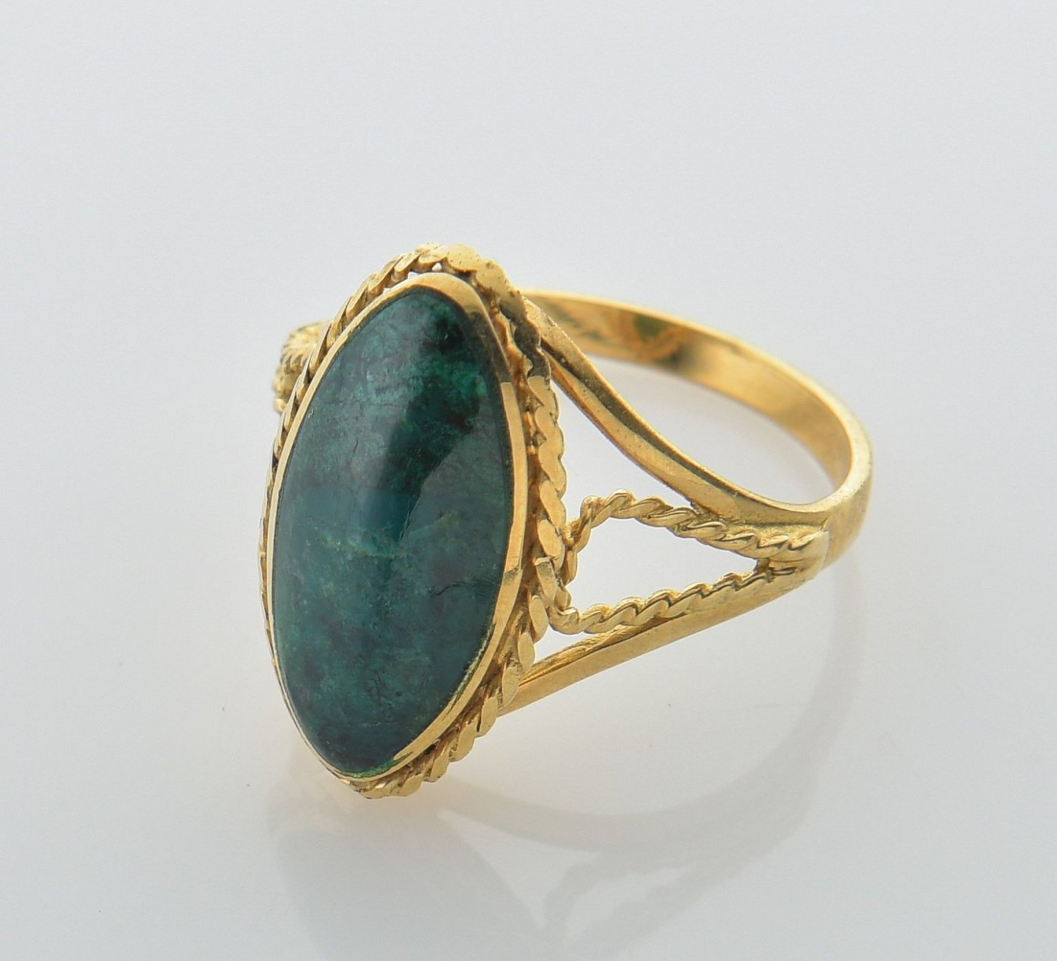Unique genuine gold ring 14k set Eilat stone size 7.5 ! high quality jewelry