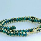 Genuine Eilat stone beaded necklace 14k gold clasp . ! high quality jewelry