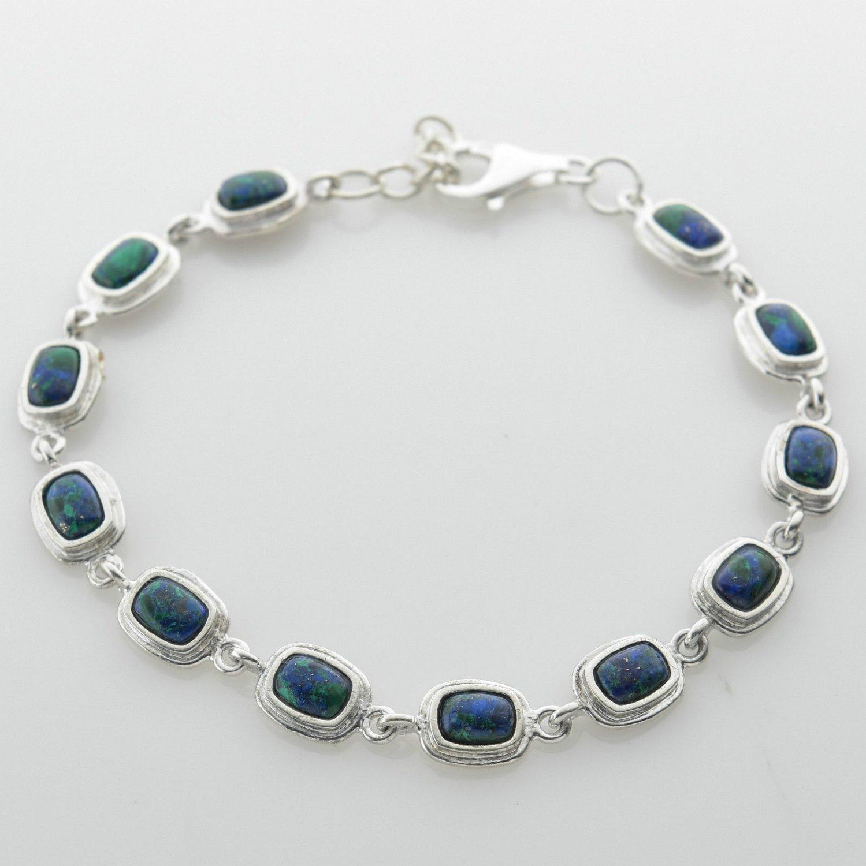 """Fine solid sterling silver 925 bracelet Eilat stone Israel 8"""" ! Gift & Jewelry"""