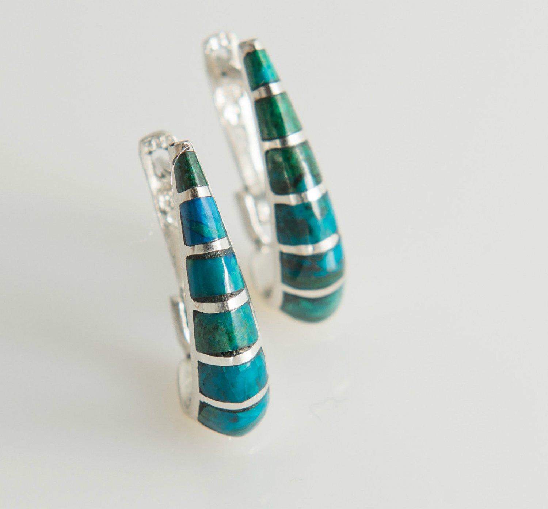 Fine silver earrings set natural Eilat stone Israel ! Gift Jewelry & Love