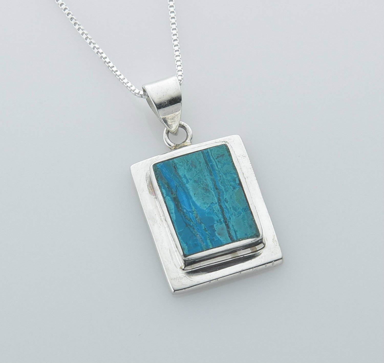 Fine natural Eilat stone & silver 925 pendant necklace ! high quality jewelry