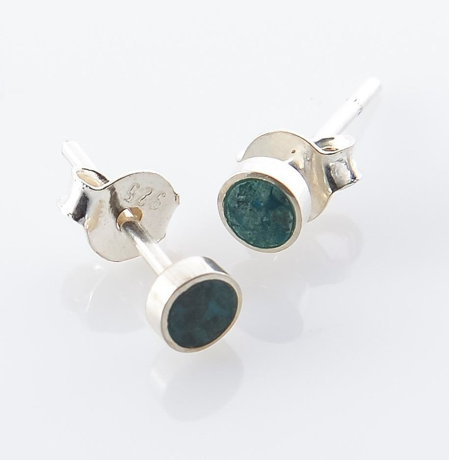 Solid sterling silver 925 earrings & natural Eilat stone Israel ! Gift & jewelry