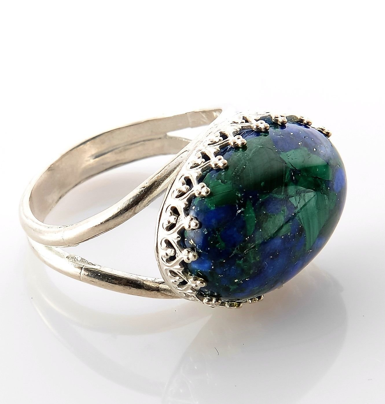 Sterling silver 925 ring & Eilat king solomon stone size 7.5 ! Gift & Jewelry