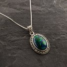 Sterling silver 925 necklace & pendant set natural Eilat stone ! Gift & Jewelry