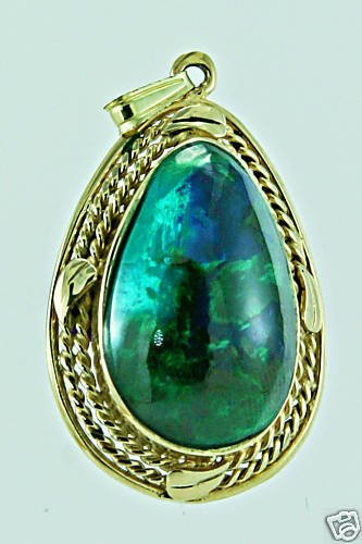 Original Eilat stone Israel & 14k yellow gold pendant ! high quality jewelry