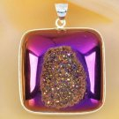 Fashion silver 925 chain & natural agate titanum druzy pendant ! Gift & Jewelry