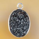 Fashion silver 925 chain & natural agate titanum druzy pendant ! Gift & Jewelry
