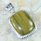 Natural pretty silver set ocean Jasper pendant + necklace ! Gift Jewelry & Love