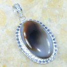 Fine fashion silver necklace & pendant set Agate gemstone ! Gift Jewelry & Love