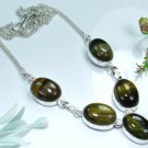 "Special fashion Tiger eye & silver 925 necklace 16.25 "" ! Gift Jewelry and Love"