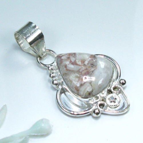 Pretty jasper silver 925 pendant + sterling necklace ! Gift Jewelry & Love
