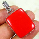 Fashion design red coral gemstone pendant & silver 925 necklace ! Gift & Jewelry