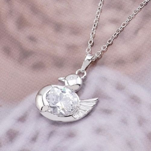 Beautiful duck 18K Gold plate Zircon Pendant & Necklace ! Gift Jewelry & Love